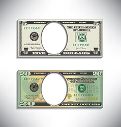 Stylized money looses face vector