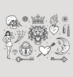 tattoos vintage collection vector image