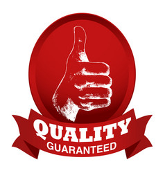 thumb up sketch with quality guaranteed text vector image