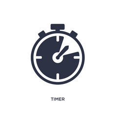 Timer icon on white background simple element vector