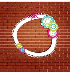 Vintage frame on the brick wall background vector image