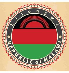 Vintage label cards of Malawi flag vector
