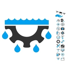 Water Gear Drops Icon With Copter Tools Bonus vector