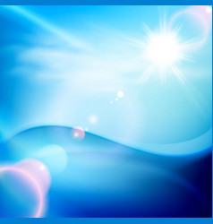 Water wave in sunny day blue background vector