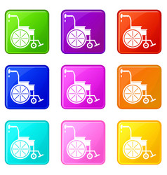 Wheelchair icons 9 set vector