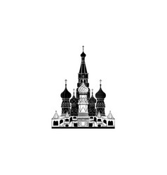 world attractions st basil cathedral in moscow vector image