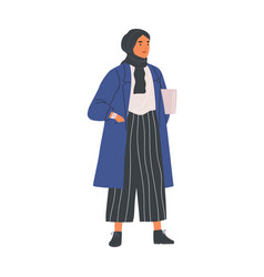 Young modern muslim woman wearing trendy casual vector