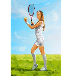 Young tennis player woman vector image