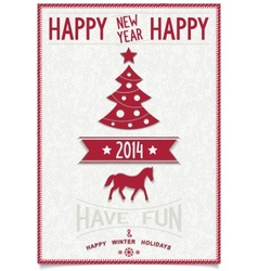 Christmas greeting card with symbols of 2014 vector image