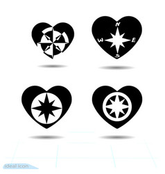 Compass windrose icon flat heart black template vector