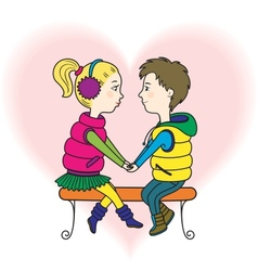 A happy teens couple in love vector image