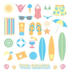 Beach Fun Objects and Icons vector image