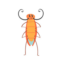 cute cartoon funny cockroach character vector image