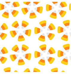 happy halloween candy corn seamless pattern round vector image