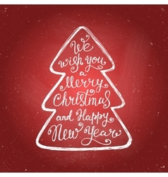 Merry christmas lettering chalk on red background vector