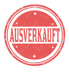 sold out on german language ausverkauft grunge vector image