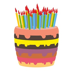 Birthday cake and lots of candles burn lot of vector
