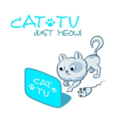 Cat tv symbol vector