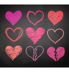 Chalk drawn hearts vector image vector image