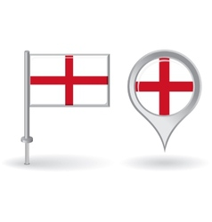 English pin icon and map pointer flag vector
