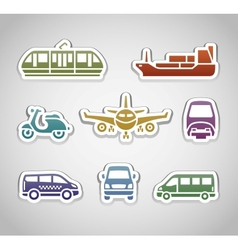 flat retro color stickers - set three vector image