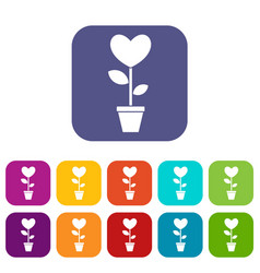 heart flower in a pot icons set flat vector image