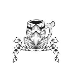 Mug of beer with hops Hop cones vector image