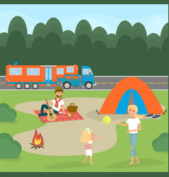 summer family picnic travel by campervan vector image