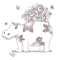 Zen Tangle Hippo with flowers vector image vector image
