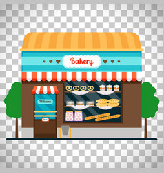 bakery shop front on transparent background vector image vector image