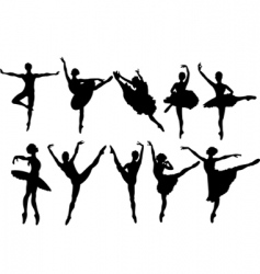 ballerina silhouettes vector image vector image