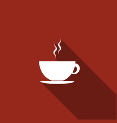 coffee cup flat icon with long shadow tea cup vector image
