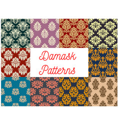 damask seamless pattern set with floral ornament vector image