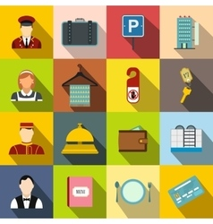 Hotel flat icons set vector image
