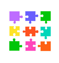 puzzle pieces set vector image
