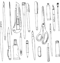 stationery art materials vector image