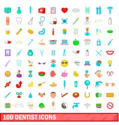 100 dentist icons set cartoon style vector image
