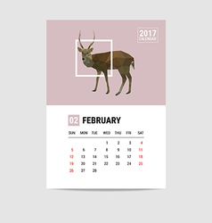 2017 February calendar deer polygon vector