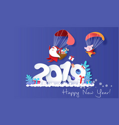 2019 new year design card with santa claus vector image