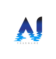 Aj a j letter logo design with water effect vector