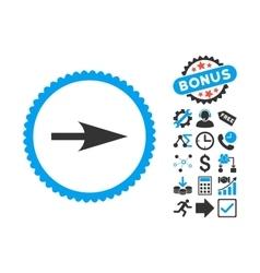 Arrow Axis X Flat Icon with Bonus vector image