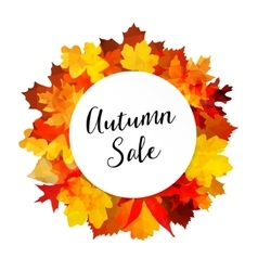 Autumn fall sale banner with colorful leaves vector