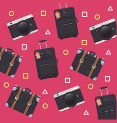Baggage camera pattern pink background imag vector