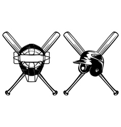 Baseball mask helmet and crossed bat vector