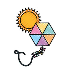 Beautiful kite flying with sun vector
