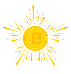 Bitcoin shine on white vector