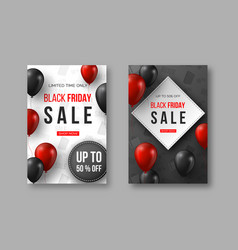 black friday sale posters 3d red and black vector image