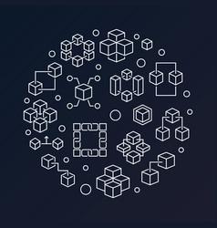 blockchain technology round outline vector image