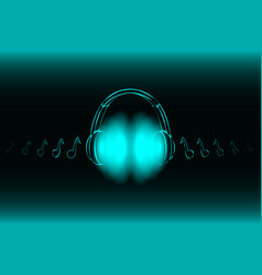 bright glowing neon headphones isolated on blue vector image