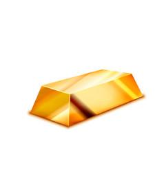 bright realistic glossy golden ingot on white vector image